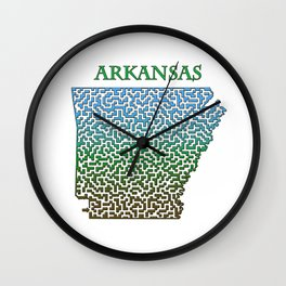 Arkansas State Outline Colorful Maze & Labyrinth Wall Clock