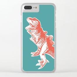 Dino Pop Art - T-Rex - Teal & Dark Orange Clear iPhone Case
