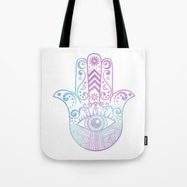 Hamsa Hand Purple and Blue Watercolor Tote Bag