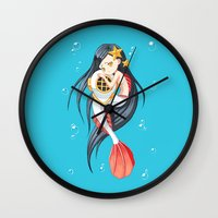 the little mermaid Wall Clocks featuring Mermaid by Freeminds