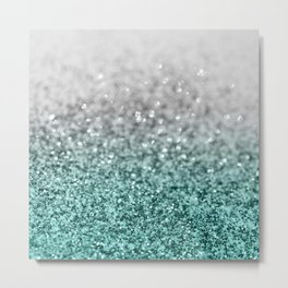 Silver Teal Ocean Glitter Glam #1 #shiny #decor #art #society6 Metal Print