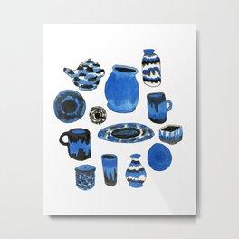 Cobalt Pottery Metal Print