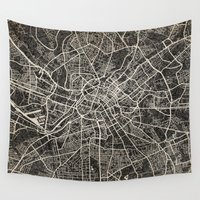 manchester Wall Tapestries featuring manchester map ink lines by Les petites illustrations