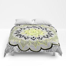 Lemon & Charcoal Lace Comforters