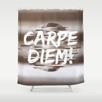 carpe diem Shower Curtains featuring Carpe Diem by Isaak_Rodriguez