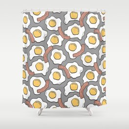 Eggs And Bacon On Grey Shower Curtain