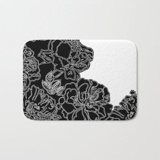 FLORAL IN BLACK AND WHITE Bath Mat