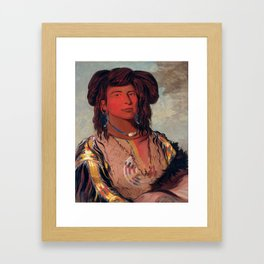 Head Chief of the Miniconjou Tribe by George Catlin Framed Art Print