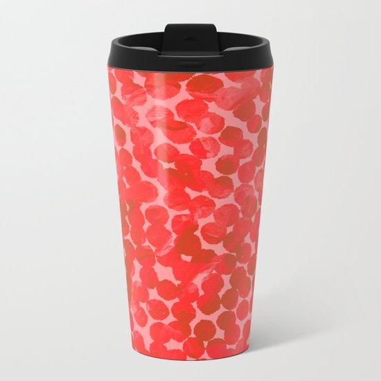 Coral Red Dots Metal Travel Mug