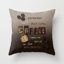 Ombre Coffee Beans and Brews Word Art Throw Pillow