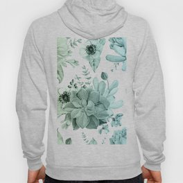 Simply Succulent Garden in Turquoise Green Blue Gradient Hoody