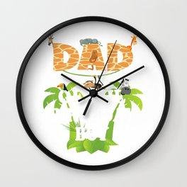 Dad Of The Birthday Boy Zoo Theme Animal Party T-Shirt Wall Clock