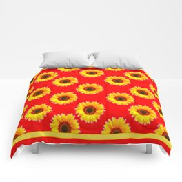 Scarlet Red & Golden Yellow Sunflowers Patterns Comforters