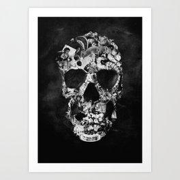 Vintage Skull BW Art Print