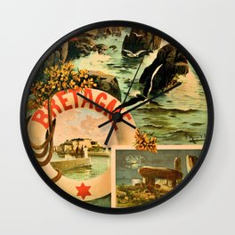 Bretagne Brittany Hugo d'Alesi 1895 French travel Wall Clock