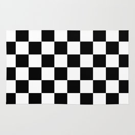Black White Checker Rug