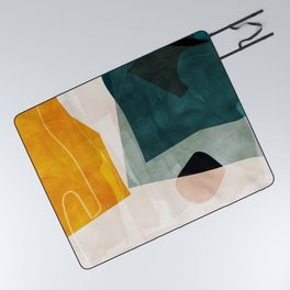 mid century shapes abstract painting 3 Picnic Blanket