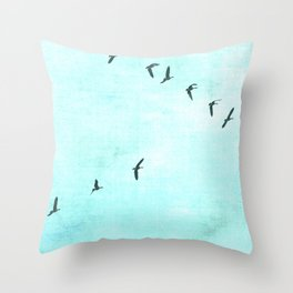 GEESE FLYING - TURQUOISE Throw Pillow