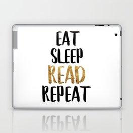 Eat Sleep Read Repeat Gold Laptop & iPad Skin