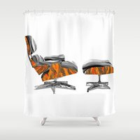 eames Shower Curtains featuring Eames Lounger by kflare