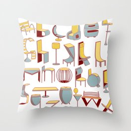 Chair alphabet Throw Pillow