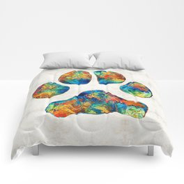 Colorful Dog Paw Print by Sharon Cummings Comforters