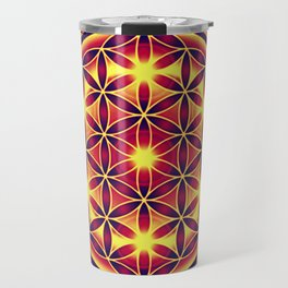 FLOWER OF LIFE batik style yellow red Travel Mug