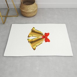 Two Christmas Bells Tied With Red Ribbon Rug