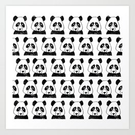 Happy pandas pattern Art Print
