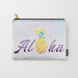 Aloha Mermaid Scales Watercolor Pineapple Carry-All Pouch