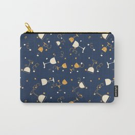 Chic navy blue faux gold glitter party time Carry-All Pouch
