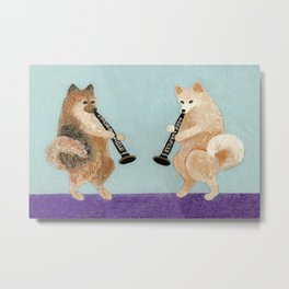 Pomeranian Dogs Playing Clarinets Metal Print