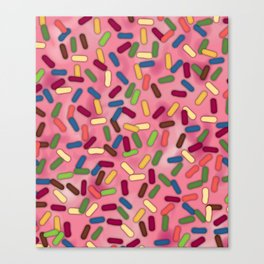 Pink Donut Glaze with Sprinkles Canvas Print