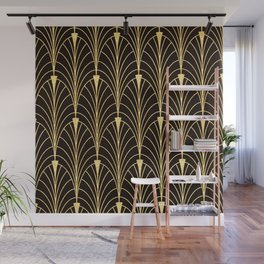 Sophisticated Glitzy Gold Art Deco Pattern Wall Mural