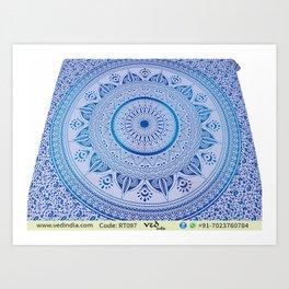 Hippie Wall Hangings Trippy Mandala Tapestries Floral Design Art Print