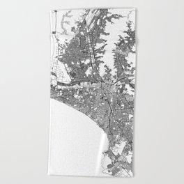 Lima White Map Beach Towel