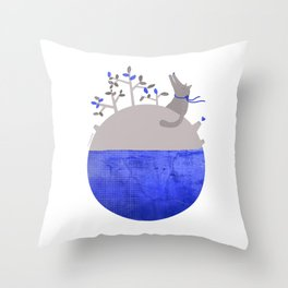 Lonely Wolf´s Planet Throw Pillow