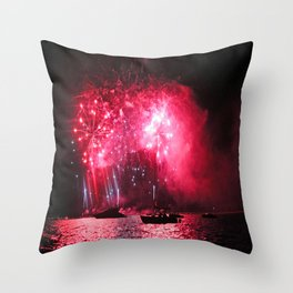 Galaxy Fireworks over South Lake Tahoe Throw Pillow