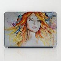 jennifer lawrence iPad Cases featuring Jennifer Lawrence Watercolor (Light) by Halinka H