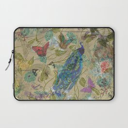 Vintage Ivory Green Blue Pink Peacock Collage Laptop Sleeve