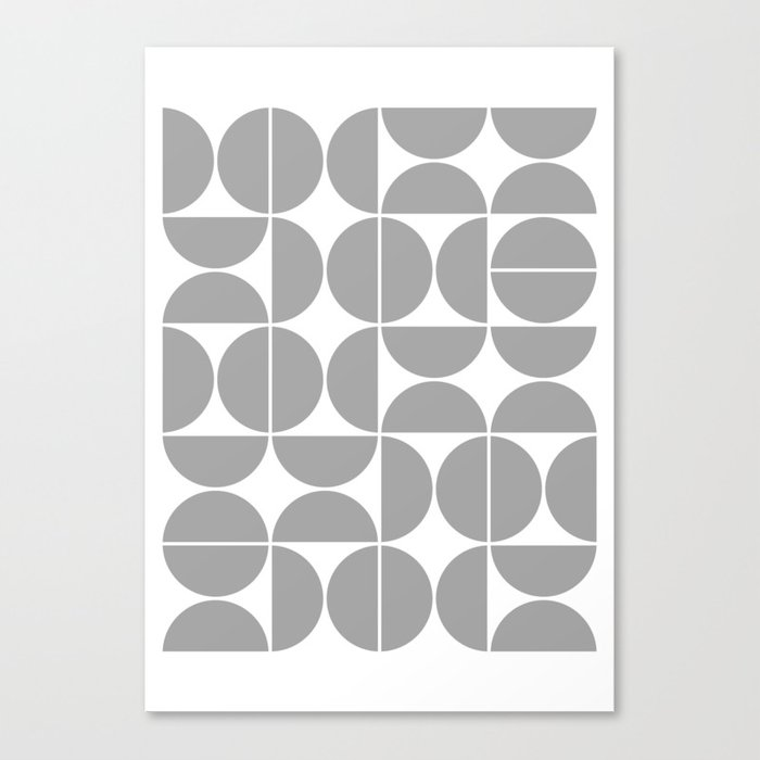 Mid Century Modern Geometric 04 Grey Leinwanddruck