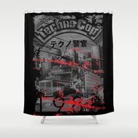 techno Shower Curtains featuring Techno Cop by Slippytee Clothing