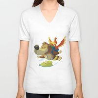 banjo V-neck T-shirts featuring Banjo by Rod Perich