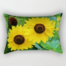 Lemon Sunflowers Rectangular Pillow