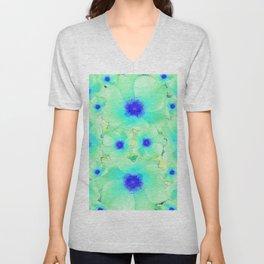 Celadon Jade Green-Blue Color Flower Pattern Unisex V-Neck
