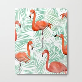 Flamingo + Mint Palm #society6 #decor #buyart Metal Print