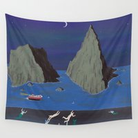 evil Wall Tapestries featuring Evil Mermaids by Angela Dalinger
