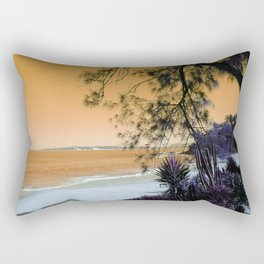 Tropical Beach in with Cacti in Orange Rectangular Pillow