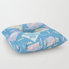 Nineties Dinosaurs Pattern  - Pastel version Floor Pillow