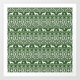 Cavalier King Charles Spaniel fair isle christmas pattern winter snowflakes dog breed Art Print